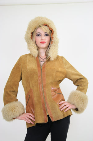 70s Mod boho hippie suede leather fur trimmed jacket - shabbybabe  - 4