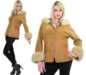 70s Mod boho hippie suede leather fur trimmed jacket - shabbybabe  - 2