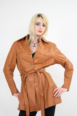 70s Brown leather jacket boho hippie southwestern - shabbybabe  - 4