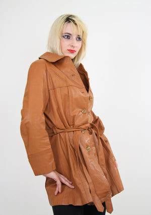 70s Brown leather jacket boho hippie southwestern - shabbybabe  - 1