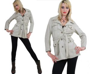 70s Mod Boho Hippie leather jacket with tie belt - shabbybabe  - 2