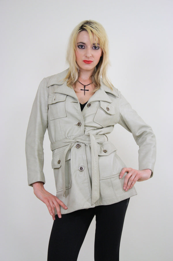 70s Mod Boho Hippie leather jacket with tie belt - shabbybabe  - 1