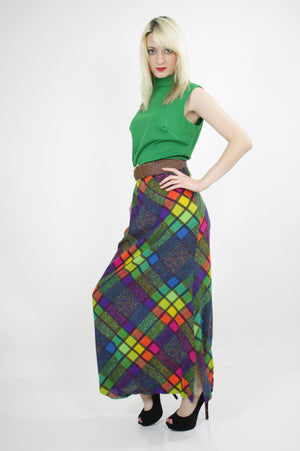 Vintage hippie boho color block neon mod maxi dress - shabbybabe  - 3