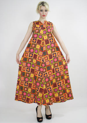 Vintage 60s Neon floral patchwork Tent Dress - shabbybabe  - 2