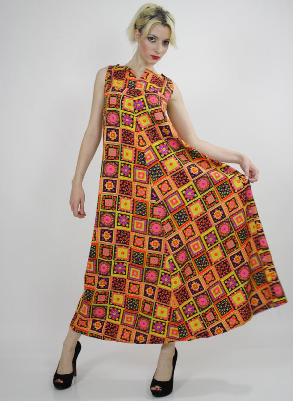 Vintage 60s Neon floral patchwork Tent Dress - shabbybabe  - 1