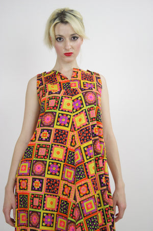 Vintage 60s Neon floral patchwork Tent Dress - shabbybabe  - 6