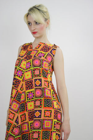 Vintage 60s Neon floral patchwork Tent Dress - shabbybabe  - 7