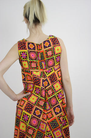 Vintage 60s Neon floral patchwork Tent Dress - shabbybabe  - 8