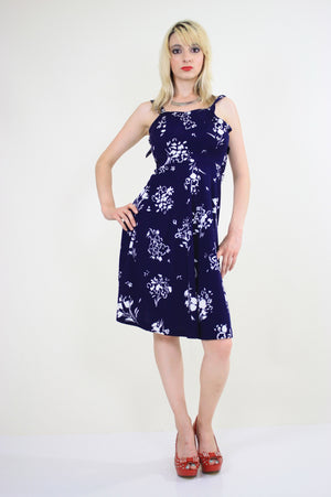 Vintage 70s Navy Blue Floral Boho Mini sun dress - shabbybabe  - 4