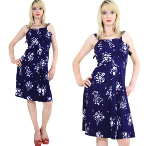 Vintage 70s Navy Blue Floral Boho Mini sun dress - shabbybabe  - 3