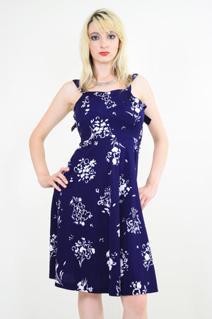 Vintage 70s Navy Blue Floral Boho Mini sun dress - shabbybabe  - 1