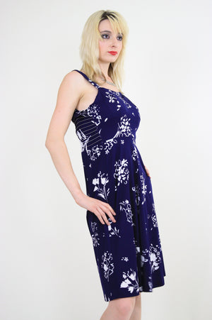 Vintage 70s Navy Blue Floral Boho Mini sun dress - shabbybabe  - 5