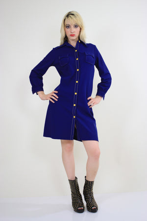 Vintage 60s Boho Mod Navy Blue shirt mini dress - shabbybabe  - 2