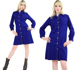 Vintage 60s Boho Mod Navy Blue shirt mini dress - shabbybabe  - 3