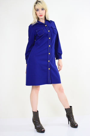 Vintage 60s Boho Mod Navy Blue shirt mini dress - shabbybabe  - 4