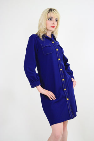 Vintage 60s Boho Mod Navy Blue shirt mini dress - shabbybabe  - 5