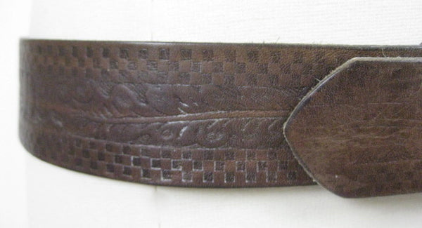 70s leather belt southewestern boho stamped design - shabbybabe  - 1