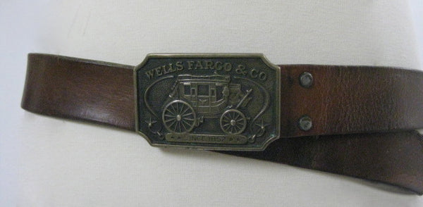 Vintage 70s leather belt Well Fargo Buckle 1973 FF581 - shabbybabe  - 1