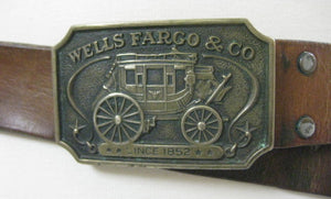 Vintage 70s leather belt Well Fargo Buckle 1973 FF581 - shabbybabe  - 3