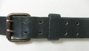 Vintage 70s Black leather belt double buckle - shabbybabe  - 1