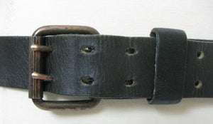 Vintage 70s Black leather belt double buckle - shabbybabe  - 2