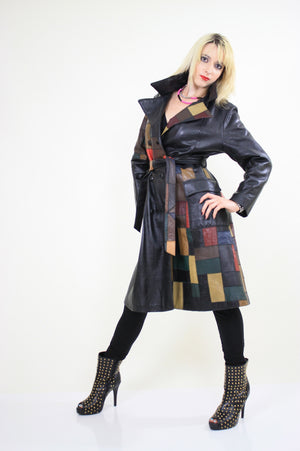Vintage 70s Boho mod patchwork leather coat jacket - shabbybabe  - 3