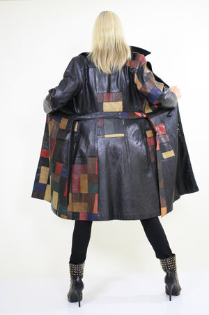 Vintage 70s Boho mod patchwork leather coat jacket - shabbybabe  - 5