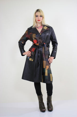 Vintage 70s Boho mod patchwork leather coat jacket - shabbybabe  - 4
