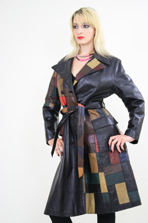 Vintage 70s Boho mod patchwork leather coat jacket - shabbybabe  - 2