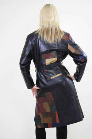 Vintage 70s Boho mod patchwork leather coat jacket - shabbybabe  - 6