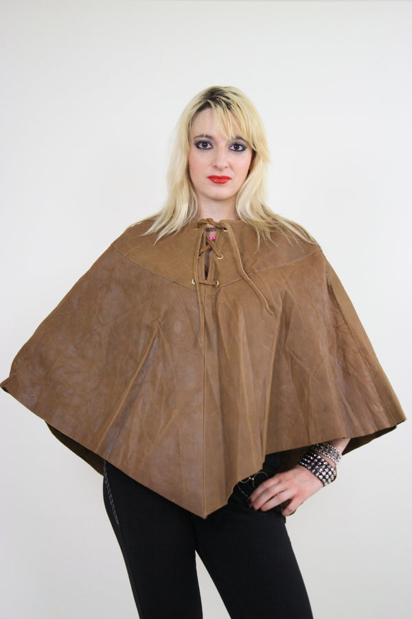 70s studded leather poncho cape grommets boho hippie - shabbybabe  - 1