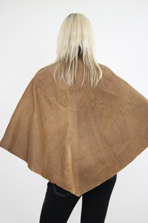 70s studded leather poncho cape grommets boho hippie - shabbybabe  - 3