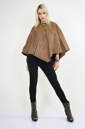 70s studded leather poncho cape grommets boho hippie - shabbybabe  - 4