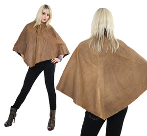 70s studded leather poncho cape grommets boho hippie - shabbybabe  - 2