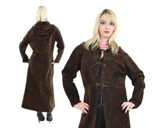 70s suede leather maxi coat hooded goth steampunk boho - shabbybabe  - 2