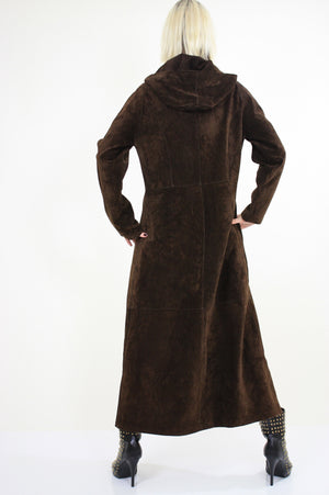 70s suede leather maxi coat hooded goth steampunk boho - shabbybabe  - 5