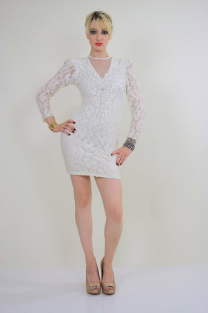 80s lace sequin cocktail dress Body con Open Back - shabbybabe  - 2