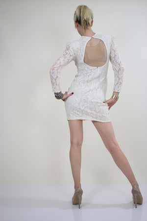 80s lace sequin cocktail dress Body con Open Back - shabbybabe  - 6