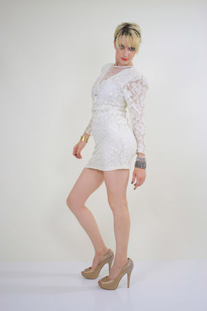 80s lace sequin cocktail dress Body con Open Back - shabbybabe  - 4