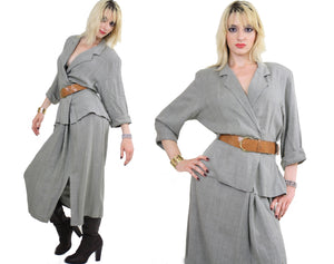 Vintage 80s boho draped linen peplum dress - shabbybabe  - 4