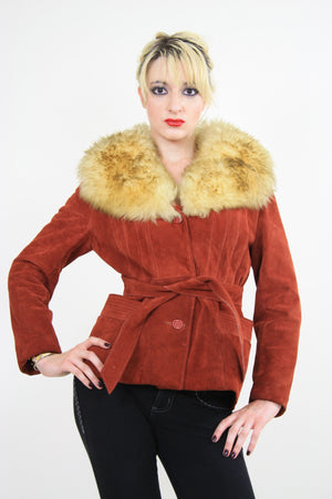Vintage 70s boho suede leather shearling jacket - shabbybabe  - 1