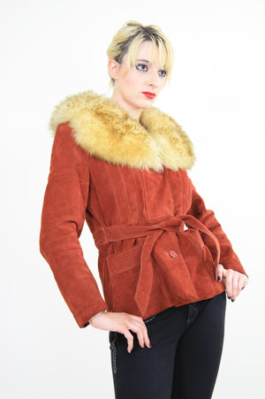 Vintage 70s boho suede leather shearling jacket - shabbybabe  - 3
