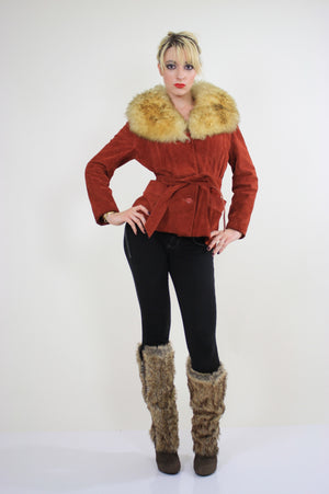 Vintage 70s boho suede leather shearling jacket - shabbybabe  - 5