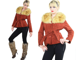 Vintage 70s boho suede leather shearling jacket - shabbybabe  - 2