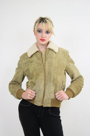 70s Suede Leather Bomber jacket shearling collar - shabbybabe  - 4