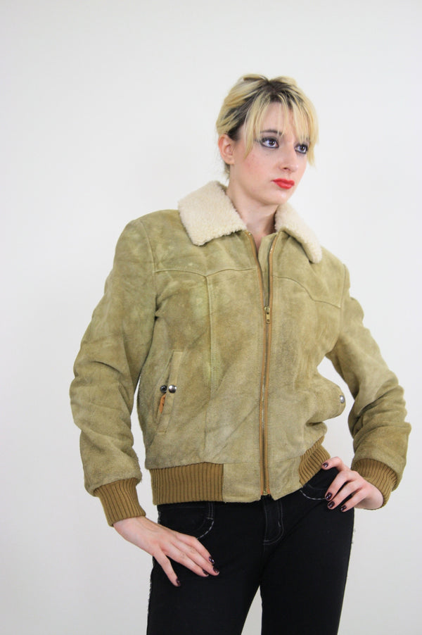 70s Suede Leather Bomber jacket shearling collar - shabbybabe  - 1