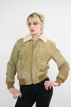 70s Suede Leather Bomber jacket shearling collar - shabbybabe  - 3