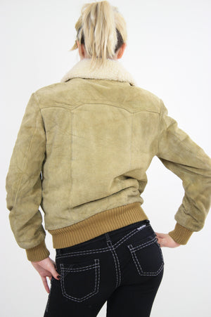 70s Suede Leather Bomber jacket shearling collar - shabbybabe  - 5