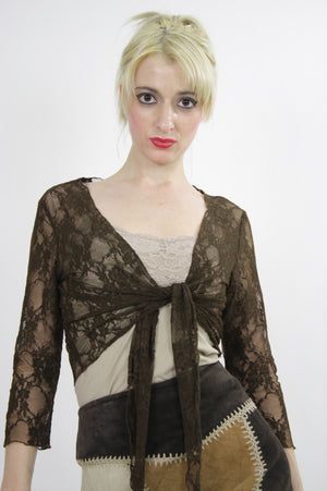 Vintage 90s grunge sheer lace crop top - shabbybabe  - 1