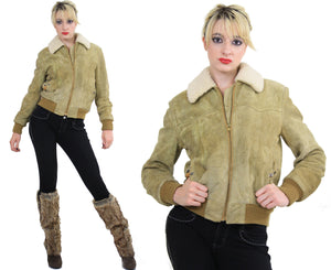 70s Suede Leather Bomber jacket shearling collar - shabbybabe  - 2